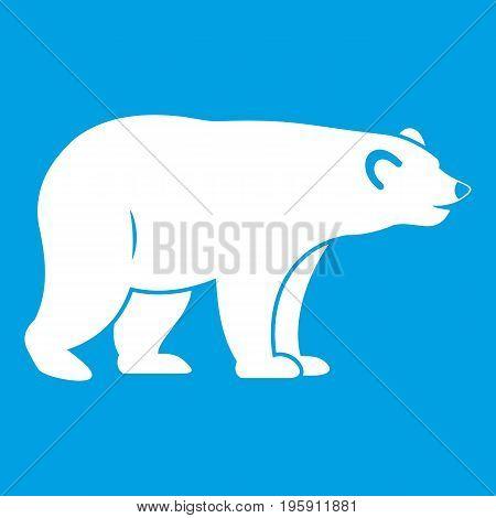 Wild bear icon white isolated on blue background vector illustration