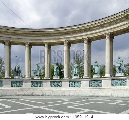 scenery around the Heroes square in Budapest the capital city of Hungary