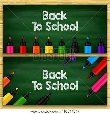 Vector illustration of Back to school title words written in a chalkboard with sets of markers
