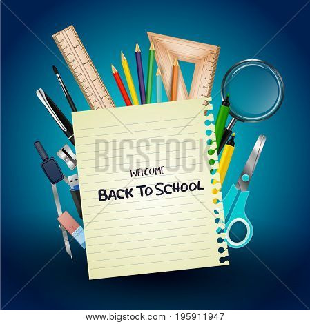 Vector illustration of Welcome back to school with school supplies and notebook paper