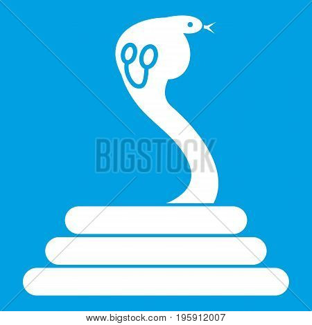 Cobra icon white isolated on blue background vector illustration