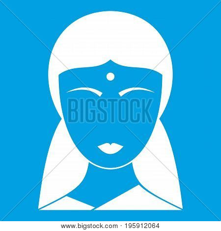 Indian woman icon white isolated on blue background vector illustration