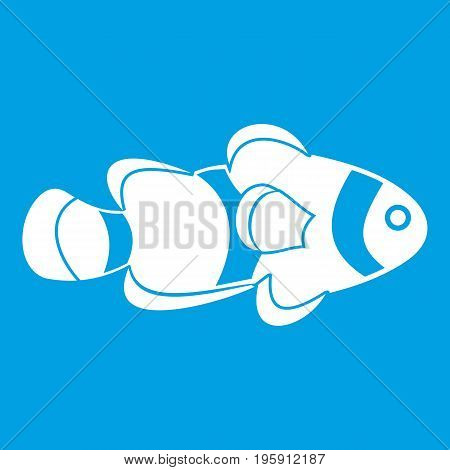 Fish clown icon white isolated on blue background vector illustration