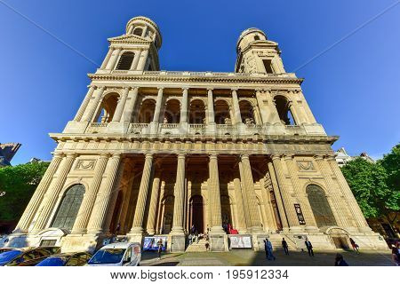 Paris France - May 16 2017: Saint-Sulpice church a Roman Catholic Church in Paris France on the east side of the Place Saint-Sulpice in the Luxembourg Quarter.
