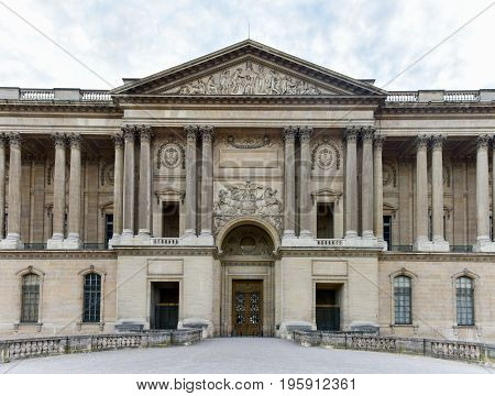 Paris, France - May 16, 2017: Rear entrance to the Louvre Museum in Paris France