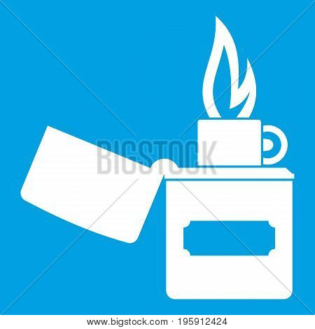 Lighter icon white isolated on blue background vector illustration