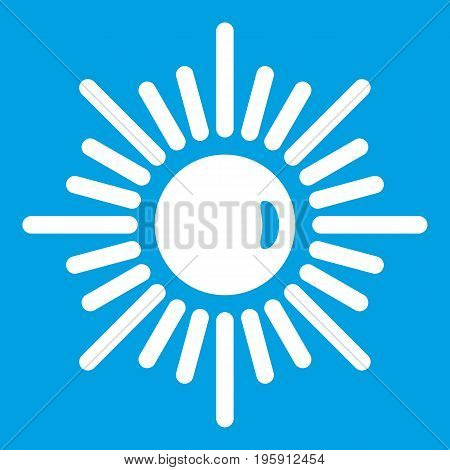 Sun icon white isolated on blue background vector illustration