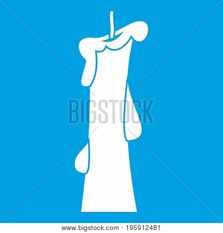 Church candle icon white isolated on blue background vector illustration