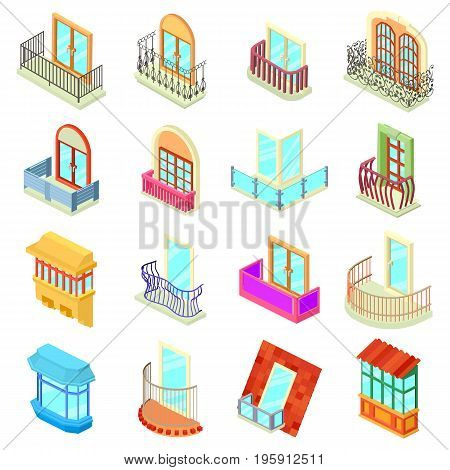 Balcony window forms icons set. Isometric illustration of 16 balcony window forms icons set vector icons for web