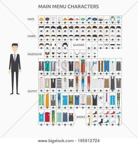 Character Creation Reservation Man   set of vector character illustration use for human, profession, business, marketing and much more.The set can be used for several purposes like: websites, print templates, presentation templates, and promotional materi