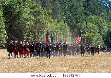 Duncan Mills CA - July 15 2017: Unidentified participants at Northern California's largest Civil war reenactments and one of the largest west of the Mississippi. A two day living history experience.