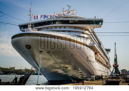 Vladivostok Russia - October 03 2012: Cruiseship Diamond Princess of the mooring of Vladivostok.