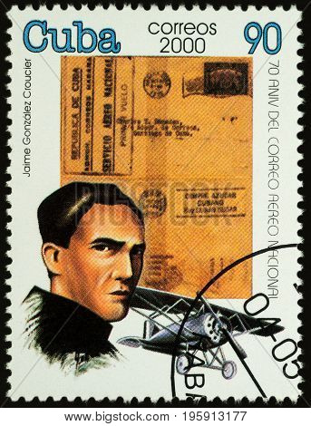 Moscow Russia - July 17 2017: A stamp printed in Cuba shows portrait of Jaime Gonzalez Croucier (1895-1920) - a pioneer Cuban aviator circa 2000