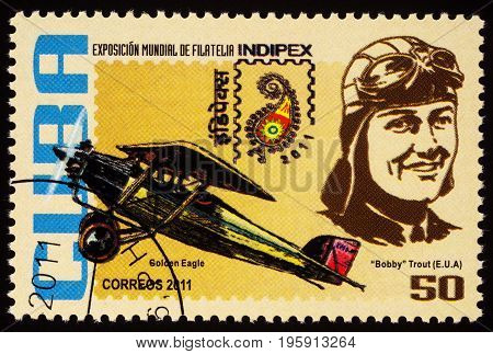 Moscow Russia - July 18 2017: A stamp printed in Cuba shows American aviator Evelyn