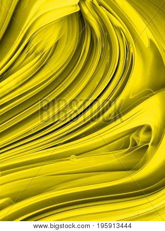 semi mixed yellow paint can with settled tint ink and bubble