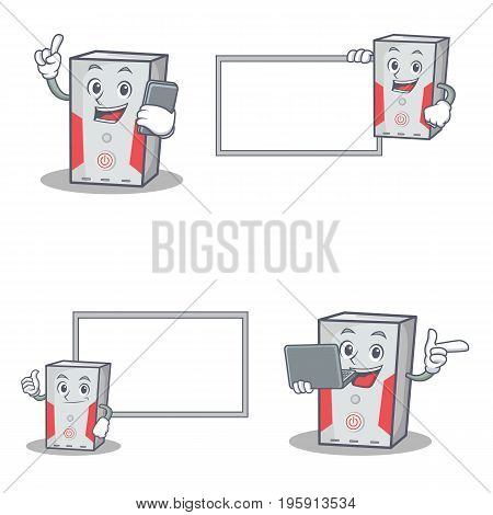 Set of computer character with phone laptop board vector art