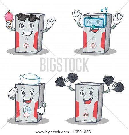 Set of computer character with ice cream fitness sailor diving vector illustration