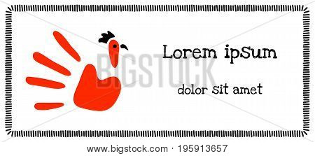 Funny child's hand imprint with a rooster drawing vector illustration template