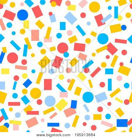 Colorful paper confetti simple seamless pattern, vector background