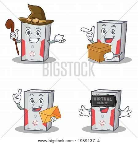 Set of computer character with witch box envelope virtual vector illustration