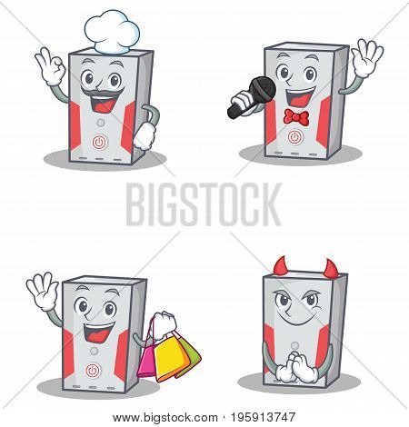 Set of computer character with chef karaoke shopping devil vector illustration