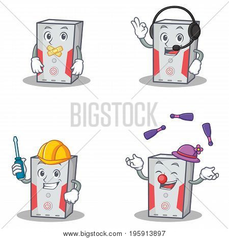 Set of computer character with silent headphone automotive juggling vector illustration