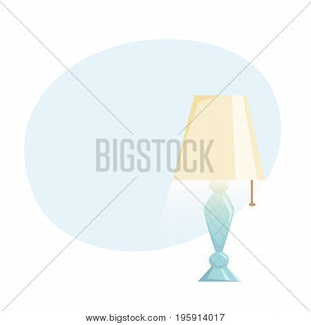 Lampshades on the table background. Interior light design vector illustration. Table lamps. Cartoon interior decor elements.