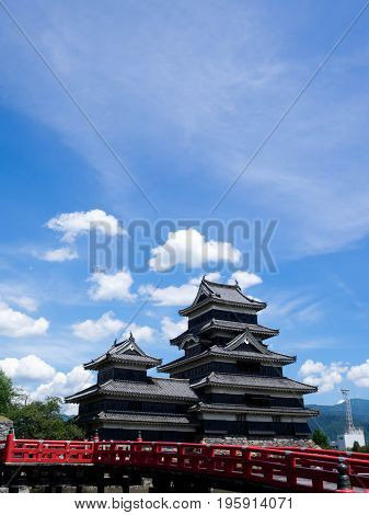 Matsumoto castle against blue sky in Nagono city Japan