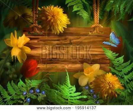 Watercolor summer background. Flowers with paint drips. Floral digital painting. Wooden signboard hanging on a rope.