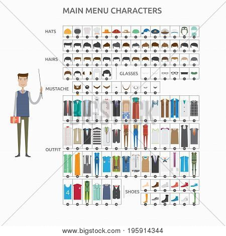 Character Creation Teacher | set of vector character illustration use for human, profession, business, marketing and much more.The set can be used for several purposes like: websites, print templates, presentation templates, and promotional materials.