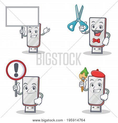 Set of flashdisk character with bring board barber sign artist vector illustration