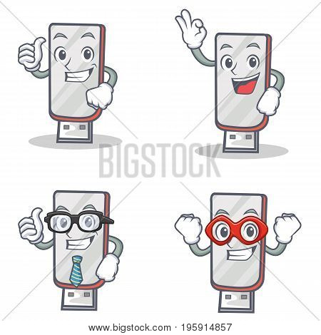 Set of flashdisk character with proud okay businessman hero vector illustration