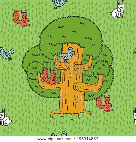 Large Tree And Forest Animals Pattern. Oak And Squirrel. Hares And Birds. Nest On Tree. Hive Hand Dr