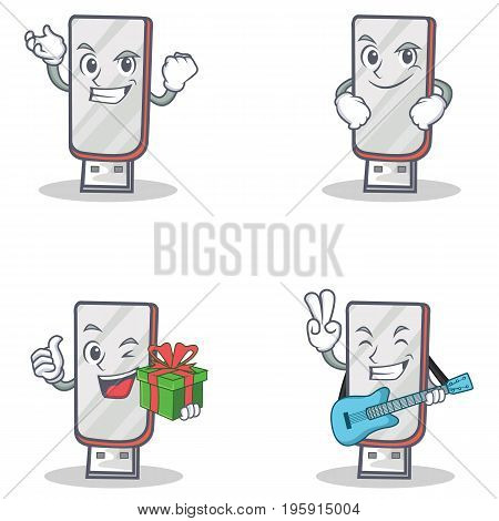 Set of flashdisk character with succesfull smirking gift guitar vector illustration
