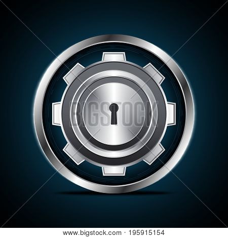 Technology Digital Cyber Security Keyhole Gear Circle Background