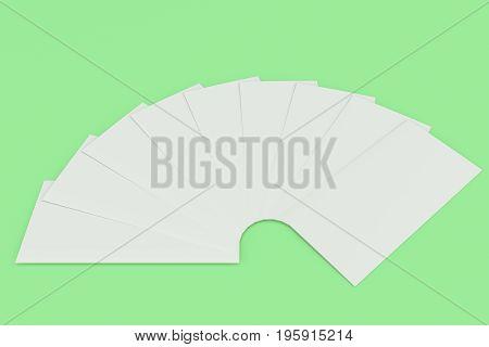 Blank White Three Fold Brochure Mockup On Green Background