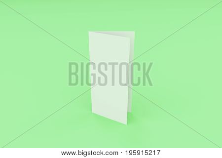 Blank White Closed Three Fold Brochure Mockup On Green Background