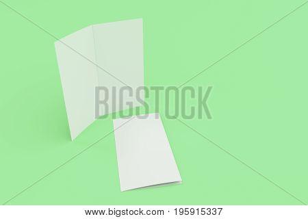 Blank White Two Fold Brochure Mockup On Green Background