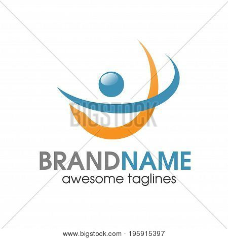 simple abstract fitness logo, abstract active sport logo,elegant abstract active people logo