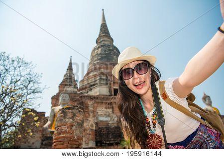 Travel Selfie Asian Woman In Ayutthaya Village