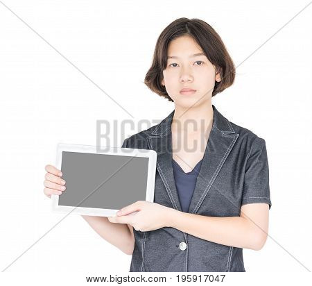 Woman Holding Up  Blank Tablet Computer