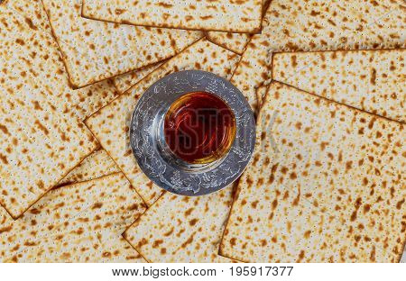 Matzo For Passover And Wine On Table Closeup