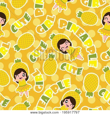 Summer seamless pattern with cute pineapple girls on orange polka dot background vector cartoon for summer wallpaper and scrap paper