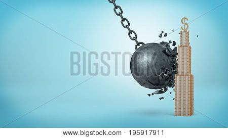 A wrecking ball breaking itself on solid shape of a business building with a golden dollar sign on the top. Solid business. Reliable investment. Guaranteed profit.
