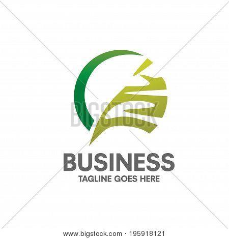 modern and elegant  concept circle Eco green leaf logo design