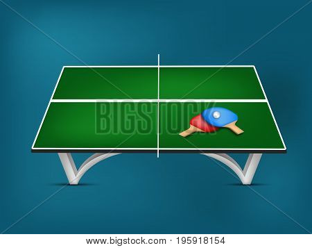 illustration of table rackets and ball on the event of table tennis sport tournament