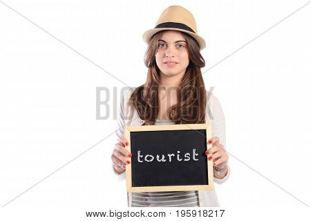 Portrait of latin woman holding chalkboard with text