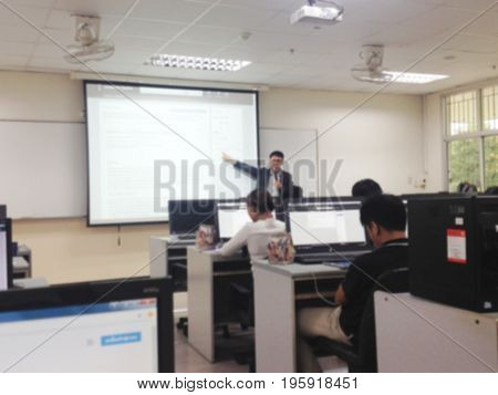 beautiful blur photo of training in computer room