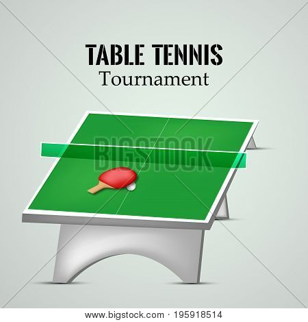 illustration of table racket and ball with Table Tennis Tournament text on the event of Table Tennis Tournament