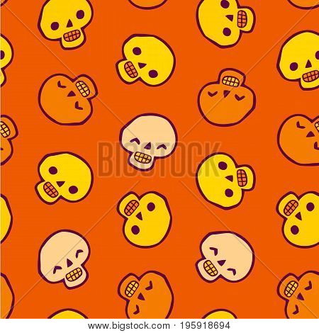 Seamless infinite background with skulls - Halloween Pattern for greeting cards, packing, cards, packets, flyers